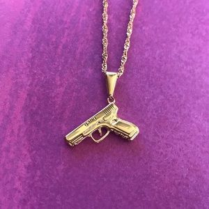 14k Gold Gang Gun Necklace
